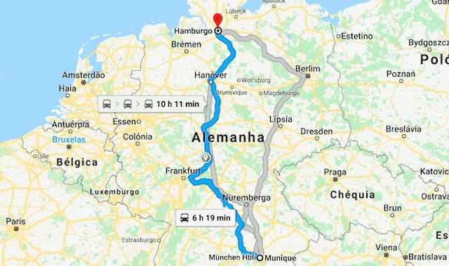 Mapa da viagem de trem de Munique até Hamburgo