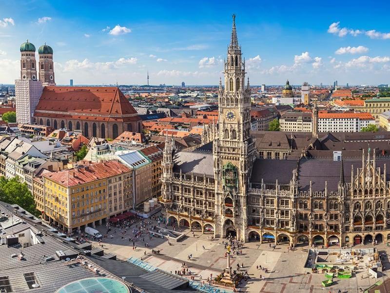 Centro histórico de Munique na Alemanha