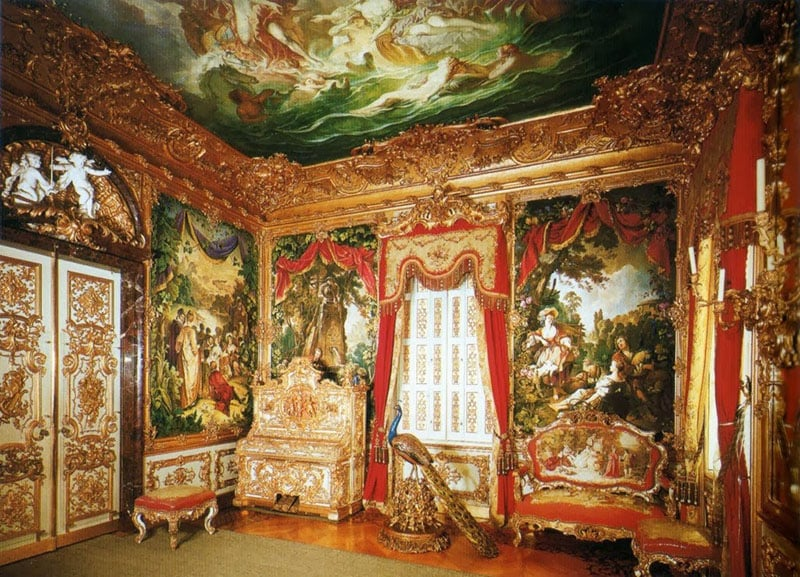 Sala de tapeçaria oeste do Palácio de Linderhof em Munique