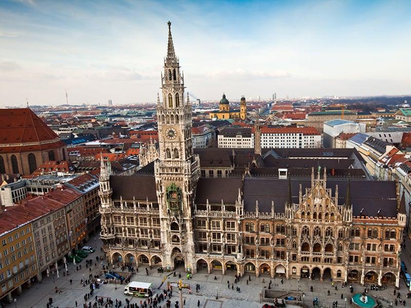 Praça Marienplatz em Munique na Alemanha