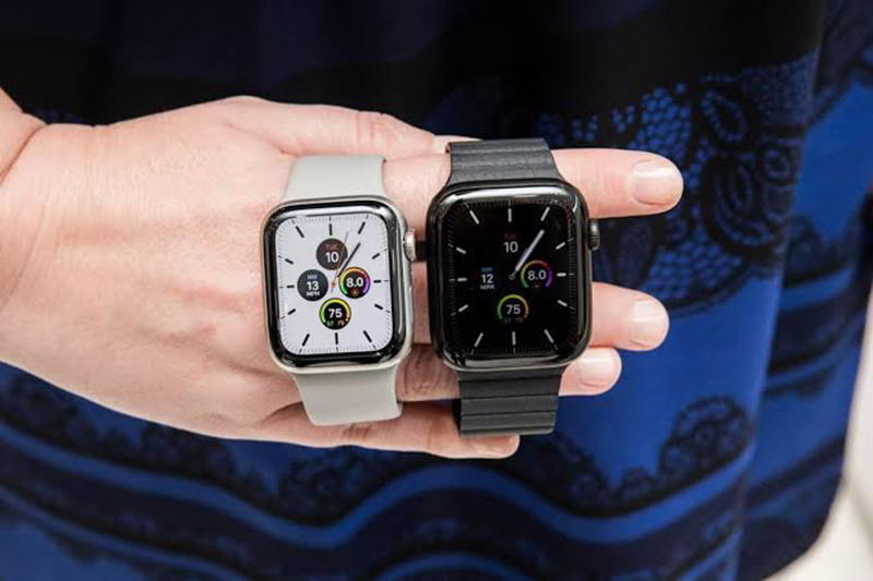 Diferentes tamanhos do Apple Watch Series 5