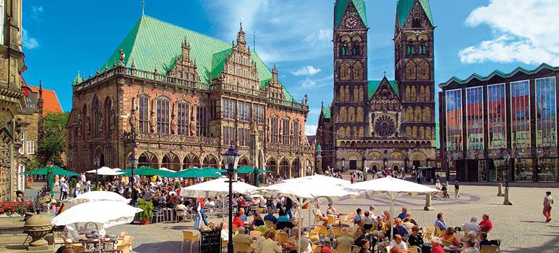 Praça central da cidade de Bremen na Alemanha