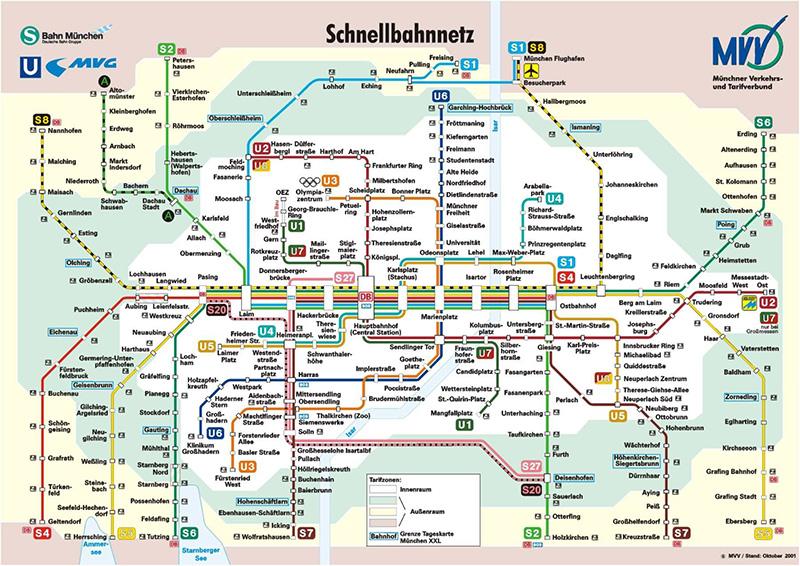 Mapa do transporte em Munique